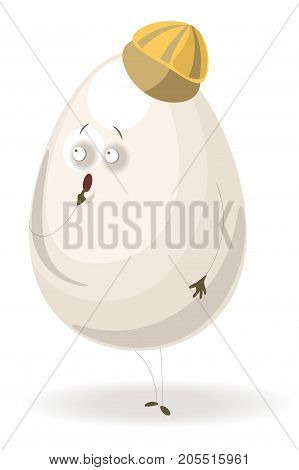 Shiny chicken egg with surprised facial expression, arched eyebrows and open round mouth, striped small cap on top and thin limbs isolated cartoon flat vector illustration on white background.