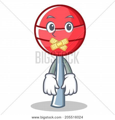 Silent sweet lollipop character cartoon vector illustration