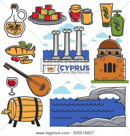 Cyprus tourism travel symbols and tourist famous sightseeing attractions. Cyprus flag, ocean island and and ancient Greek building architecture and bouzouki musical instrument. Vector isolated icons