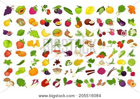 Vegetables, fruits, berries and mushrooms or spices. Apple, vegetarian, potato or pepper and corn, strawberry or raspberry and ginger, chanterelle and cauliflower cabbage. Vector isolated food icons