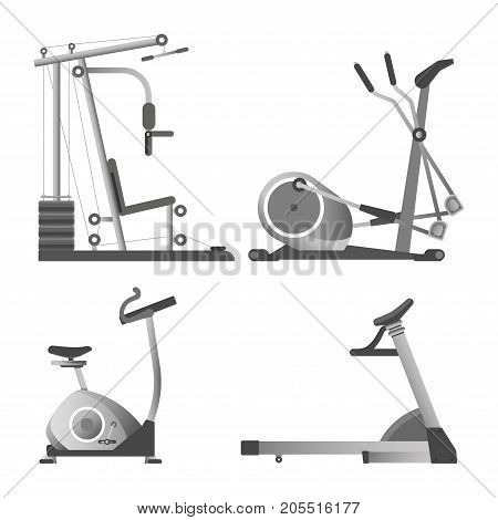 Training apparatuses from gym isolated monochrome vector illustrations set on white background. Equipment for sport for all muscles groups with weights and for active movements to keep body fit.