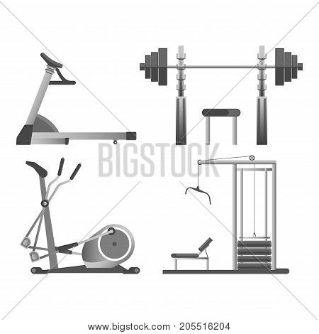 Training apparatus with heavy blocks, modern orbitrek and black weights on rods for all kinds of physical load on solid metal stands isolated cartoon vector illustrations set on white background.