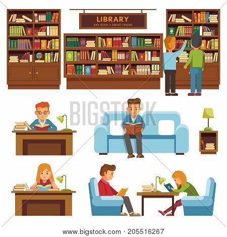 Library or bookshop with books on shelf. Students people reading books in library or bookstore sttitng and learning or study at desk on couch. Vector flat design