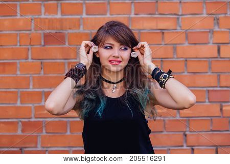 Young Beautiful Girl With Colorful Makeup