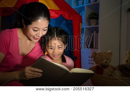 Sweet Attractive Little Girl Reading Story Book
