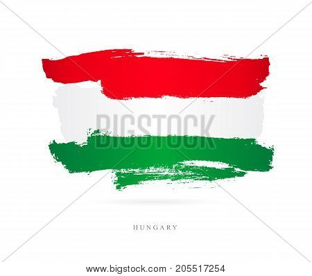 Flag of Hungary. Vector illustration on white background. Beautiful brush strokes. Abstract concept. Elements for design.