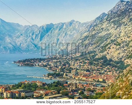 View of Kotor, Montenegro. Kotor Bay is one of the most beautiful places on the Adriatic Sea, a preserved Venetian fortress, old tiny villages, medieval towns and picturesque mountains.