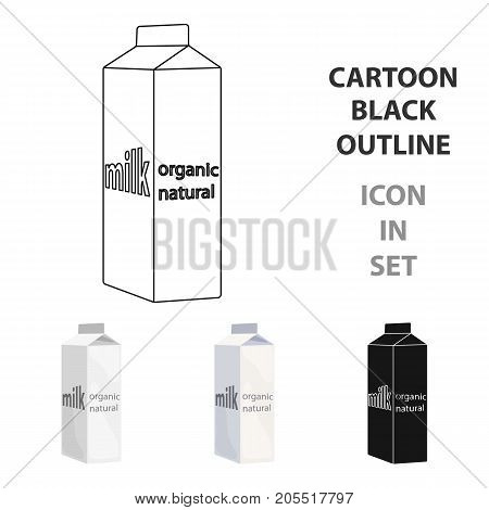 Milk gable top carton package icon in cartoon style isolated on white background. Milk product and sweet symbol vector illustration.