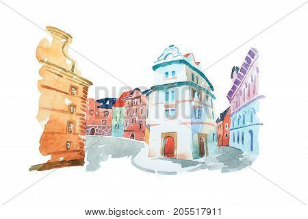 Aquarelle painting of Portuguese street with old historical buildings.