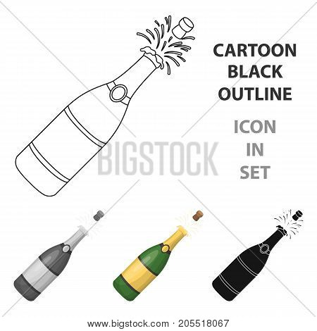 A bottle of champagne with a cork.Party and parties single icon in cartoon style vector symbol stock web illustration.