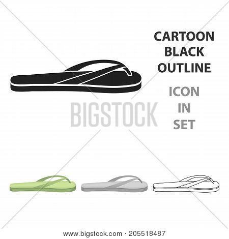 Flip-flops icon in cartoon style isolated on white background. Shoes symbol vector illustration.