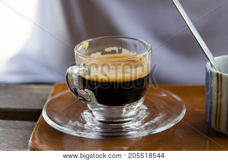 A cup of hot Americano in Nan, Thailand.