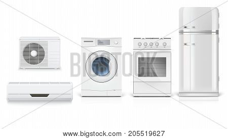 Set icons of household appliances on a white background. Air conditioning, washing machine, gas hob and white fridge, isolated 3D illustration with realistic shadows and reflections.