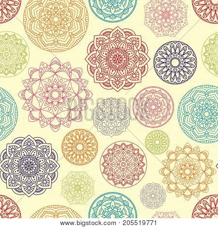 Seamless Pattern with Mandala. Vector Seamless Background with Indian Motifs