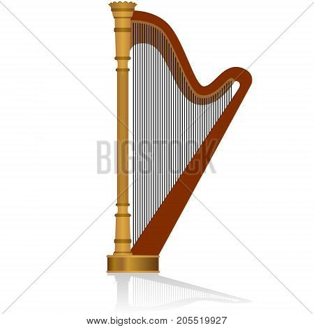 Musical instrument harp. The illustration on a white background.