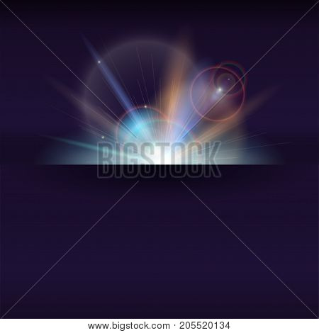 Blurred light rays and lens flare backdrop with place for text. Abstract space sunny poster, glow light effect. Banner with dynamic burst of star, sparkles on backdrop. Vector 3D illustration.