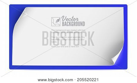 White paper banner, background for advertising and announcements. Blank sheet of paper with curled corners isolated. Poster, horizontal banner. Realistic template with bend corners, 3D illustration.
