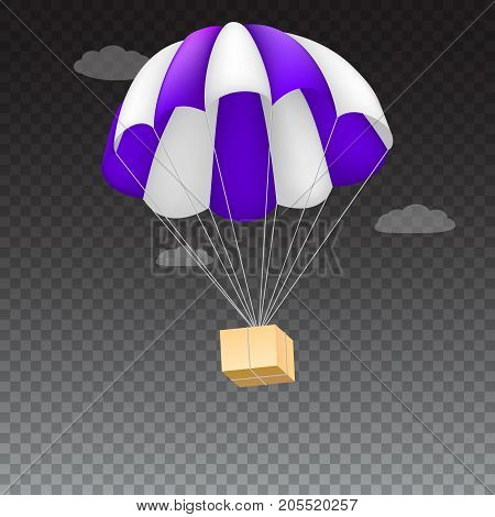 Icon of package flying on parachute, isolated on transparent background. Air shipping, delivery service template, 3D illustration.