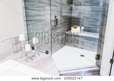 Closeup Of Staging Modern Stone Grey Tiled Bathroom, Marble Countertop In Model Home, Apartment Or H