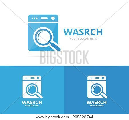 Vector of laundry and loupe logo combination. Washing machine and magnifying symbol or icon. Unique washer and search logotype design template.