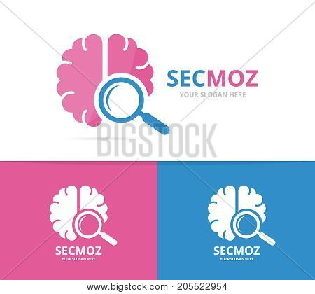 Vector brain and loupe logo combination. Education and magnifying symbol or icon. Unique science and search logotype design template.