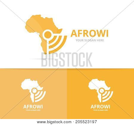 Vector africa and wifi logo combination. Safari and signal symbol or icon. Unique continent and radio, internet logotype design template.