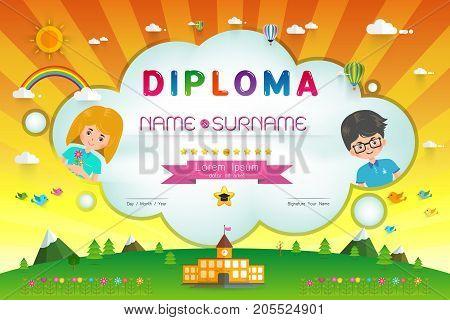 Certificate kids diploma kindergarten template layout background frame design Vector illustration. Preschool Elementary school Kids Diploma certificate background design template