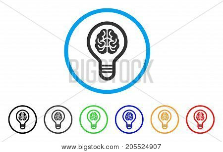 Brain Bulb rounded icon. Style is a flat brain bulb grey symbol inside light blue circle with black, gray, green, blue, red, orange color versions. Vector designed for web and software interfaces.