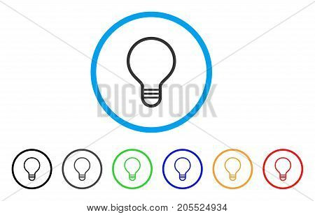 Bulb rounded icon. Style is a flat bulb grey symbol inside light blue circle with black, gray, green, blue, red, orange color versions. Vector designed for web and software interfaces.
