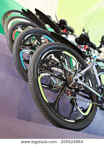 Sport Mountain Bikes In Storefront In Store