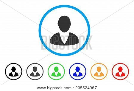 Client rounded icon. Style is a flat client grey symbol inside light blue circle with black, gray, green, blue, red, orange versions. Vector designed for web and software interfaces.