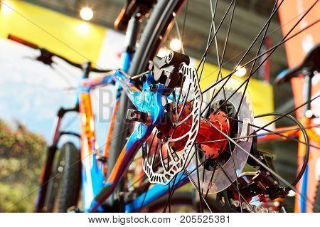 Brake Disk Of Rear Wheel Sport Mountain Bike In Shop