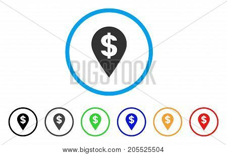 Dollar Map Marker rounded icon. Style is a flat dollar map marker grey symbol inside light blue circle with black, gray, green, blue, red, orange variants.