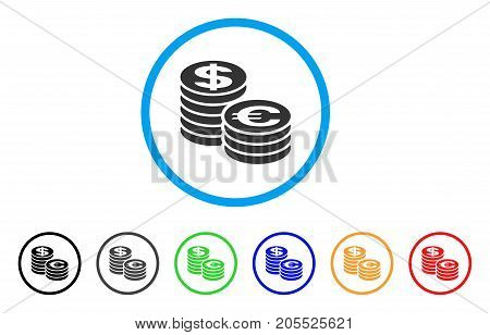 Euro And Dollar Coin Columns rounded icon. Style is a flat euro and dollar coin columns gray symbol inside light blue circle with black, gray, green, blue, red, orange color versions.