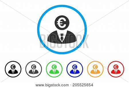 Euro Banker rounded icon. Style is a flat euro banker grey symbol inside light blue circle with black, gray, green, blue, red, orange versions. Vector designed for web and software interfaces.