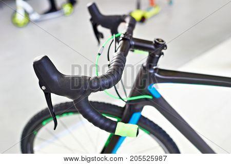 The handlebar sport road bike a closeup