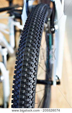 Off-road Tire On A Mountain Bicycle