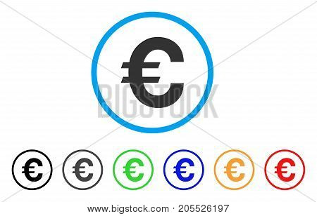 Euro Symbol rounded icon. Style is a flat euro symbol gray symbol inside light blue circle with black, gray, green, blue, red, orange versions. Vector designed for web and software interfaces.