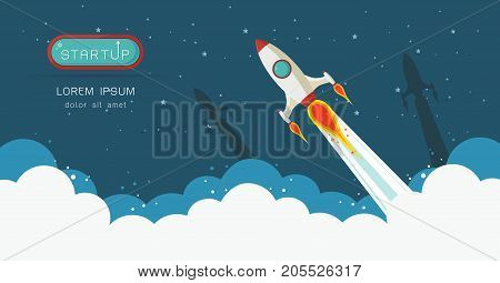 Space rocket launch. Start up concept flat style.Vector illustration.Design elements for a banner posterleaflets for business.