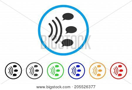 Gossip Source rounded icon. Style is a flat gossip source grey symbol inside light blue circle with black, gray, green, blue, red, orange color versions.