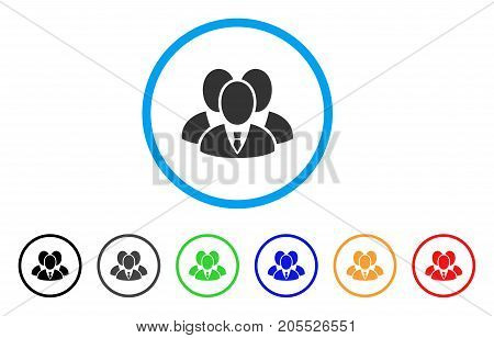 Manager Group rounded icon. Style is a flat manager group grey symbol inside light blue circle with black, gray, green, blue, red, orange variants. Vector designed for web and software interfaces.