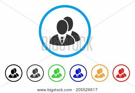 Managers rounded icon. Style is a flat managers gray symbol inside light blue circle with black, gray, green, blue, red, orange variants. Vector designed for web and software interfaces.