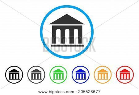 Museum Building rounded icon. Style is a flat museum building gray symbol inside light blue circle with black, gray, green, blue, red, orange variants. Vector designed for web and software interfaces.