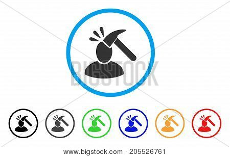 User Shock rounded icon. Style is a flat user shock gray symbol inside light blue circle with black, gray, green, blue, red, orange versions. Vector designed for web and software interfaces.