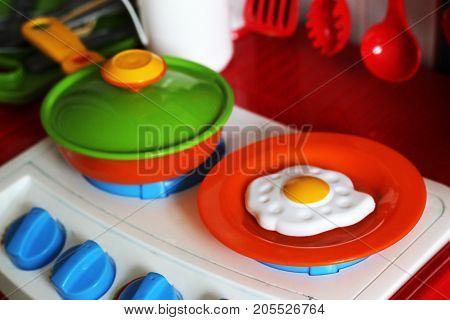 Set Of Kids Dishes. Children's Toys. Children's Kitchen Game. Kitchen Utensils.