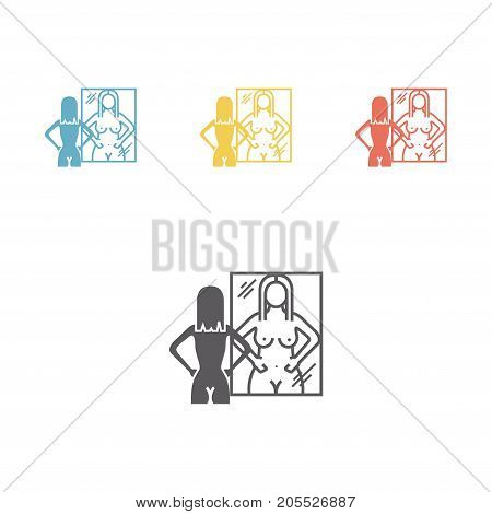 Bulimia, anorexia. Flat icon. Vector sign for web graphic