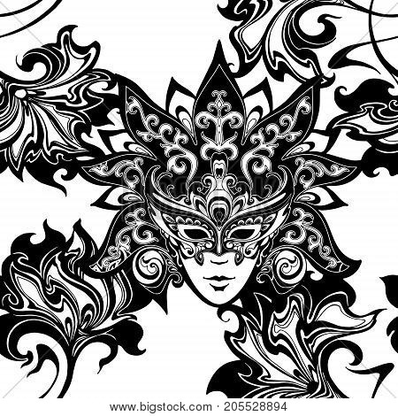 vector seamless pattern with Venetian carnival mask and flowers. Decorative theatrical face with crown and floral patterns for design of fabrics, packaging, wallpaper