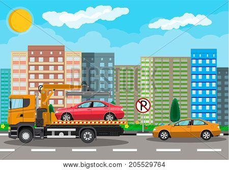 Tow truck takes car. Parking is prohibited. City road side assistance service. Evacuator car vehicle. Cityscape, suburb, house, tree. Road, sky, clouds. Vector illustration in flat style