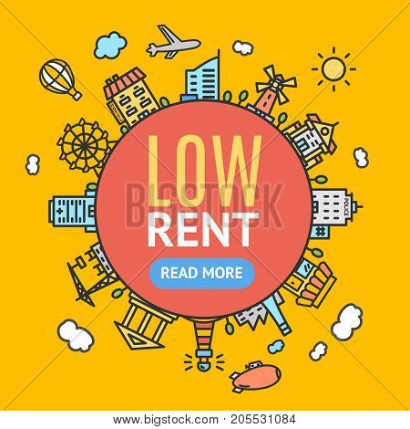 Low Rent Banner or Poster House, Home, Apartment and Office Color Thin Line Icon Real Estate Concept. Vector illustration of Rental