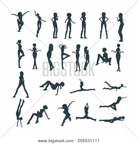 Set of sexy women silhouettes. Fashion mannequin. Collection of posing figures